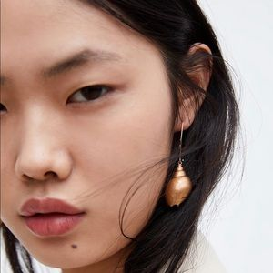 Zara Shell Earrings Gold Color Hook Closure